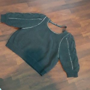 Cropped Rebecca Taylor charcoal sweater